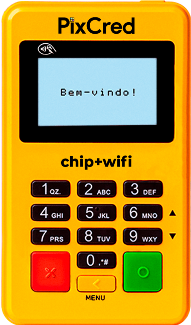 maquininha de cartão amarela pixcred